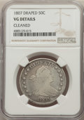 Early Half Dollars, 1807 50C Draped Bust -- Cleaned -- NGC Details. VG. NGC Census: (40/845). PCGS Population: (96/1654). VG8 . Mintage 301,076...