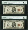Small Size:World War II Emergency Notes, Fr. 2302 $5 1934A Hawaii Federal Reserve Notes. Two Consecutive Examples. PMG Choice Uncirculated 63 EPQ.. ... (Total: 2 notes)