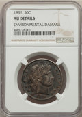 Barber Half Dollars: , 1892 50C -- Environmental Damage -- NGC Details. AU. Mintage 934,000. ...