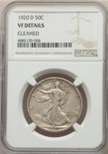 Walking Liberty Half Dollars, 1920-D 50C -- Cleaned -- NGC Details. VF. NGC Census: (17/280). PCGS Population: (60/588). CDN: $200 Whsle. Bid for problem...