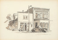 Thomas Hart Benton (American, 1889-1975) Montana Cowtown Facade, 1965 Ink, sepia wash, and pencil on