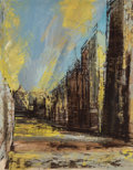 Fine Art - Work on Paper, George Grammer (American, 1928-2019). Looking Towards Grand Central Station, 1956. Gouache on paper. 23 x 18-1/2 inches ...
