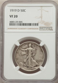Walking Liberty Half Dollars: , 1919-D 50C VF20 NGC. NGC Census: (31/415). PCGS Population: (58/635). CDN: $275 Whsle. Bid for problem-free NGC/PCGS VF20. ...