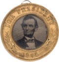 Political:Ferrotypes / Photo Badges (pre-1896), Abraham Lincoln: Highly Distinctive, Unique, Unlisted Back-to-Back Ferrotype....