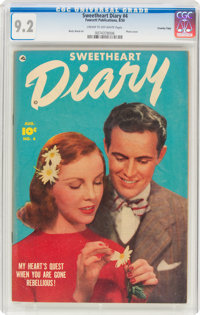 Sweetheart Diary #4 Crowley Copy Pedigree (Fawcett Publications, 1950) CGC NM- 9.2 Cream to off-white pages