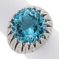 Estate Jewelry:Rings, Diamond, Blue Topaz, White Gold Ring. ...