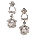 Estate Jewelry:Earrings, Diamond, Platinum-Topped Gold Earrings . ...