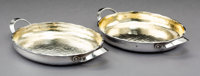 A Pair of Dominick & Haff Two-Handled Partial-Gilt Hammered Silver Serving Dishes Retailed by Duhme & Co., New Y...