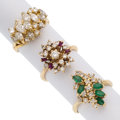 Estate Jewelry:Rings, Diamond, Emerald, Synthetic Ruby, Gold Rings. ... (Total: 3 Items)