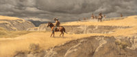 Frank McCarthy (American, 1924-2002) In the Badlands, 1982 Oil on board 13 x 30 inches (33.0 x 76