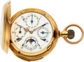 Timepieces:Pocket (pre 1900) , Marchand & Sandoz, 18k Gold Quarter Hour Repeater With Calendar & Moon Phase, circa 1890's. ...
