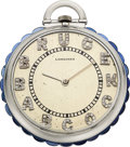 Timepieces:Pocket (post 1900), Longines, Platinum Watch With Unusual Sapphire Rim, Diamond Dial, circa 1940. ...