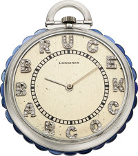 Longines, Platinum Watch With Unusual Sapphire Rim, Diamond Dial, circa 1940