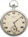 Timepieces:Pocket (post 1900), Touchon, Platinum Watch Retailed By Hodgson Kennard Co., Boston, circa 1920. ...