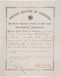 "Autographs:Military Figures, Benjamin F. Butler [African-Americana]: Large Signed Commission for ""Connecticut Colored Troops"".. ..."