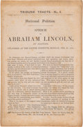 "Political:Small Paper (pre-1896), Abraham Lincoln: First Issue ""Cooper Union"" Address Imprint.. ..."