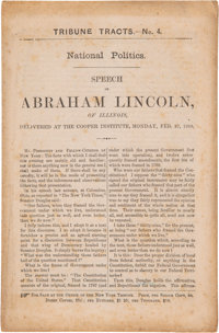 "Abraham Lincoln: First Issue ""Cooper Union"" Address Imprint"