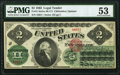 Fr. 41 $2 1862 Legal Tender PMG About Uncirculated 53