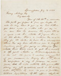 Military & Patriotic:Civil War, Abraham Lincoln: A Highly Important, Seminal 1858 Political Letter, Ex: Malcolm Forbes, Jr. Collection.. ...