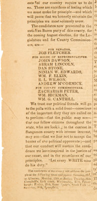 Abraham Lincoln: 1836 Springfield Newspaper Twice-Listing Lincoln as Candidate for the State Legislature