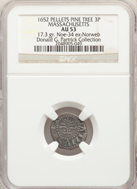 1652 3PENCE PINE TREE, Pellets at Trunk, MS 53 NGC