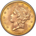 1857-S $20 Spiked Shield, Variety 20A, MS67 PCGS. CAC....(PCGS# 70000)