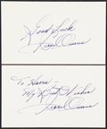 Olympic Collectibles:Autographs, Jesse Owens Signed Index Card Lot of 2....