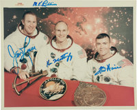 "Apollo 13 Original Crew: Signed NASA ""Red Number"" White Spacesuit Color Photo"