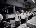 Explorers:Space Exploration, Apollo 13 Large Mission Control Photo Signed by Chris Kraft, Gerry Griffin, and Glynn Lunney....