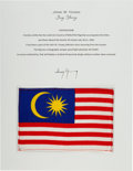 Explorers:Space Exploration, Gemini 10 Flown Flag of Malaysia Directly from the John W. Young Collection, with Letter of Certification. ...