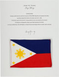 Explorers:Space Exploration, Gemini 10 Flown Flag of the Philippines Directly from the John W. Young Collection, with Letter of Certification....