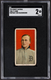 1909-11 T206 Sweet Caporal Ty Cobb (Portrait, Red Background) SGC Good 2