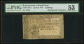 Colonial Notes:Pennsylvania, Pennsylvania April 10, 1777 2s PMG About Uncirculated 53.. ...