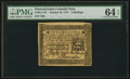 Colonial Notes:Pennsylvania, Pennsylvania October 25, 1775 2s PMG Choice Uncirculated 64 EPQ.. ...