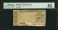 Maryland April 10, 1774 $1/3 PMG Choice Extremely Fine 45