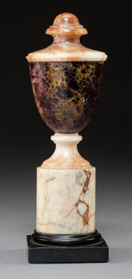 An English Blue John, Alabaster and Marble Urn, circa 1900 9-1/2 x 3 inches (24.1 x 7.6 cm)