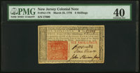 New Jersey March 25, 1776 6s PMG Extremely Fine 40