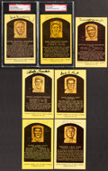 Autographs:Post Cards, Hall of Fame Yellow Post Card Plaque Signed Collection (7)....