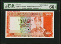 Brunei Government of Brunei 500 Ringgit ND (1979-87) Pick 11s KNB11S Specimen PMG Gem Uncirculated 66 EPQ