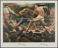 Autographs:Others, 1974 Jack Dempsey & Gene Tunney Dual-Signed Sports Illustrated Lithograph....