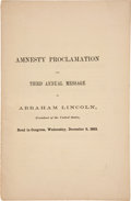 Political:Small Paper (pre-1896), Abraham Lincoln: 1863 State of the Union and Amnesty Proclamation Imprint....
