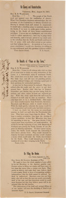 [Abraham Lincoln]: 1864 Re-Election Broadside with Quotes by Ulysses S. Grant