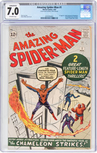 The Amazing Spider-Man #1 (Marvel, 1963) CGC Conserved FN/VF 7.0 Off-white pages