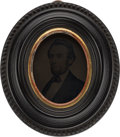 Political:Ferrotypes / Photo Badges (pre-1896), Abraham Lincoln: Sixteenth Plate Tintype in Thermoplastic Frame....