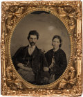 Political:Ferrotypes / Photo Badges (pre-1896), Abraham Lincoln: A Rare Sixth Plate Tintype from the 1864 Campaign.. ...