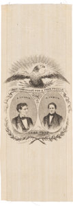 Political:Ribbons & Badges, Lincoln & Hamlin: An Extremely Rare and Important Jugate Silk Ribbon in Pristine Condition.. ...
