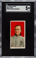 Baseball Cards:Singles (Pre-1930), 1909-11 T206 Sweet Caporal Ty Cobb (Portrait-Red) SGC EX 5. ...