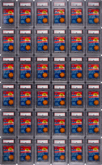 1986 Fleer Basketball PSA-Graded Unopened Packs (36) - Three With Michael Jordan Sticker Showing
