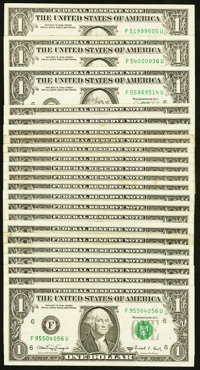 F-U Block Fr. 1917-F $1 1988A Federal Reserve Web Notes. Twenty-two Examples. Fine or Better. ... (Total: 22 notes)