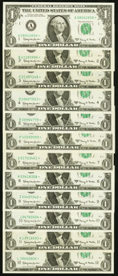 District Star Set Fr. 1901-A*-L* $1 1963A Federal Reserve Star Notes. ... (Total: 12 notes)